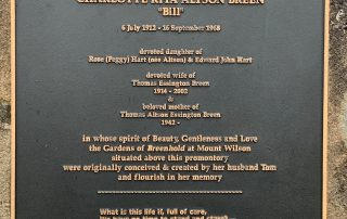 Memorial Plaque to Charlotte (Bill) Breen